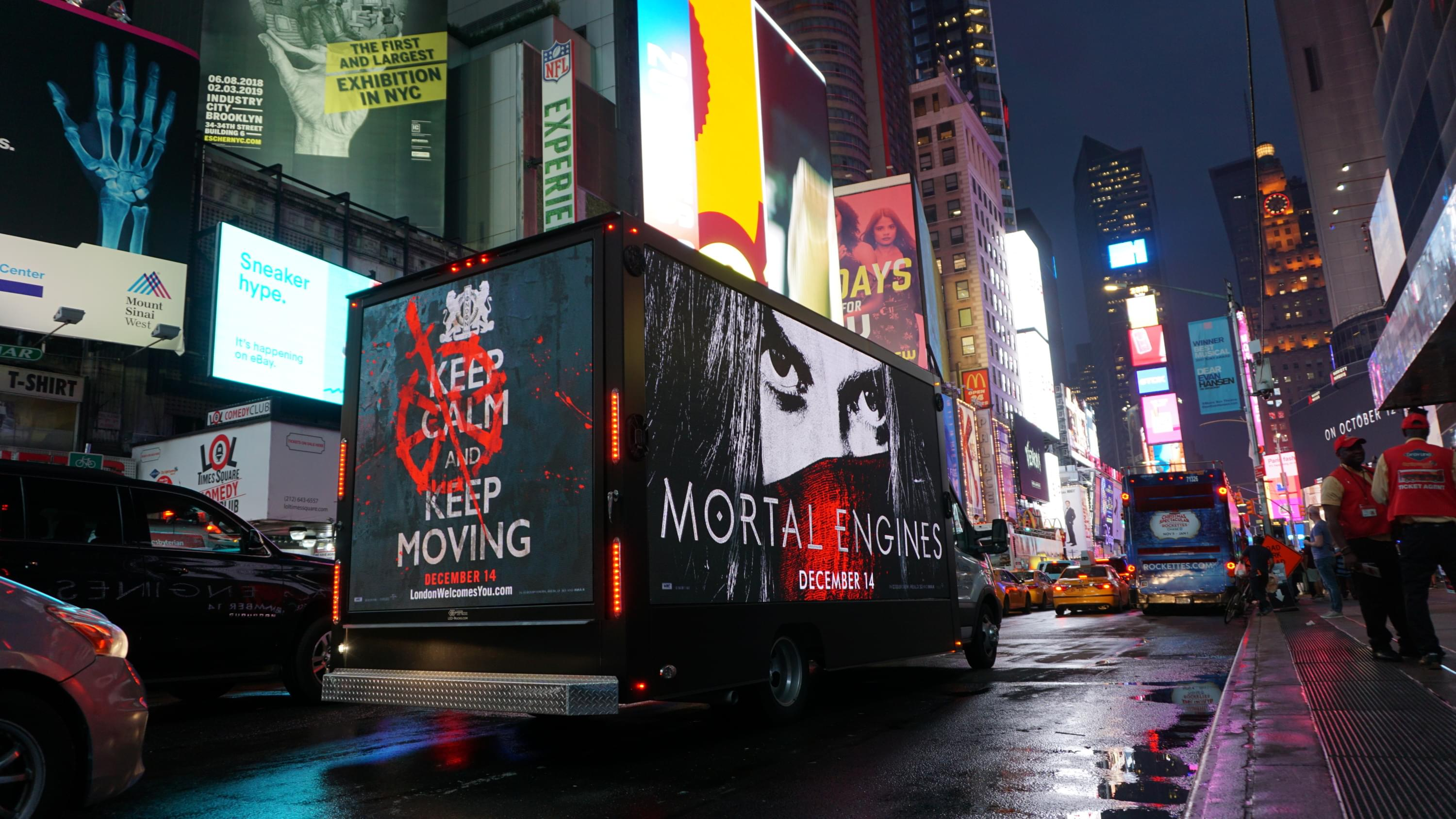LED Mobile Billboard for Mortal Engines in New York City Times Square